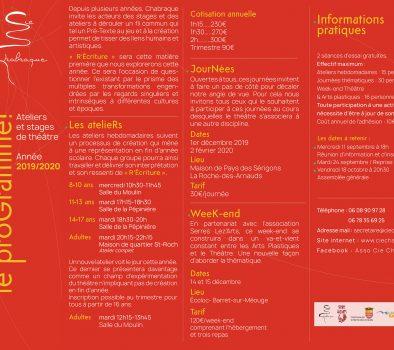 Reprise des ateliers théâtre / Mesures COVID-19